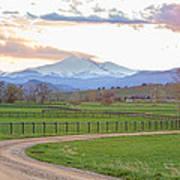 Longs Peak Springtime Sunset View  Art Print