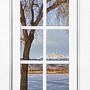 Longs Peak Winter View Through A White Window Frame Art Print