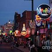 Looking Down Beale Street Memphis Art Print