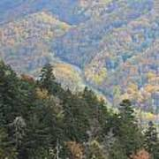Looking Down On Autumn From The Top Of Smoky Mountains Art Print