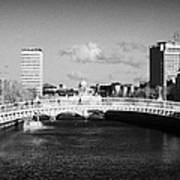Looking Down The Liffey Towards The Hapenny Ha Penny Bridge Over The River Liffey In Dublin Art Print by Joe Fox