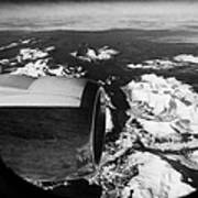 Looking Out Of Aircraft Window Over Engine And Snow Covered Fjords And Coastline Of Norway Europe Art Print by Joe Fox