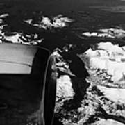 Looking Out Of Aircraft Window Past Engine And Over Snow Covered Fjords And Coastline Of Norway Euro Art Print