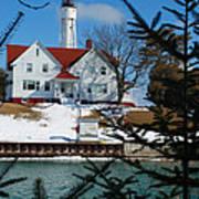 Looking Through The Pines - Sturgeon Bay Coast Guard Station Art Print