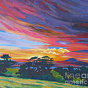 Looking West From Amador Hills Print by Vanessa Hadady BFA MA
