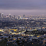 Los Angeles At Night From The Griffith Park Observatory Art Print