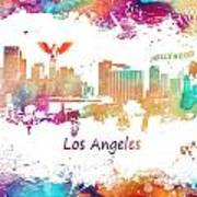 Los Angeles California Skyline Colored Art Print