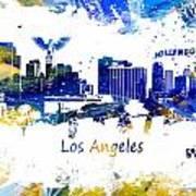 Los Angeles California Skyline Yellow Blue Art Print