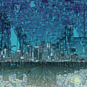 Los Angeles Skyline Abstract 5 Art Print