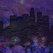 Los Angeles Skyline Brick Wall Mural Art Print
