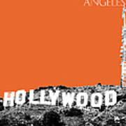 Los Angeles Skyline Hollywood - Coral Art Print