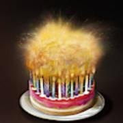 Lots Of Candles Burning On Birthday Cake Art Print