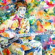 Lou Reed Playing The Guitar - Watercolor Portrait Art Print