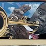 Louie Armstrong Mural In Eureka Art Print