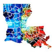 Louisiana Map - State Maps By Sharon Cummings Art Print