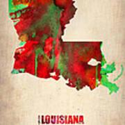 Louisiana Watercolor Map Art Print by Naxart Studio