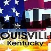 Louisville Ky Patriotic Large Cityscape Art Print