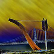 Love At Cupid's Span San Francisco Bay Bridge Art Print