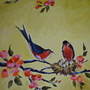 Love Birds Nesting Art Print by Kelley Smith