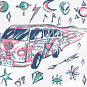 Love Bus Vector Poster. Hippie Car Art Print
