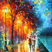 Love By The Lake - Palette Knife Oil Painting On Canvas By Leonid Afremov Art Print