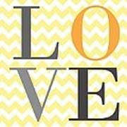 Love Chevron Yellow Art Print