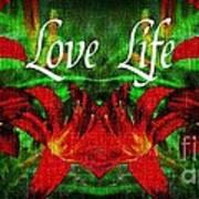 Love Life Mirrored Lilies Art Print