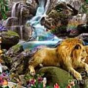 Love Lion Waterfall Art Print