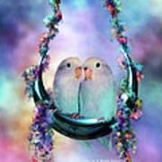 Love On A Moon Swing Art Print by Carol Cavalaris
