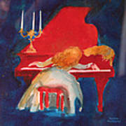 Love On The Red Piano Art Print by Eve Riser Roberts