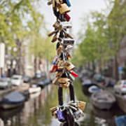 Love Padlocks In Amsterdam Art Print