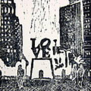 Love Park In Black And White Print by Marita McVeigh