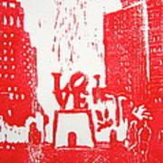 Love Park In Red Art Print
