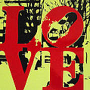 Love - Red On Lime Art Print