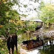 Lovejoy Covered Bridge And Moose Art Print