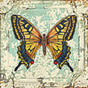 Lovely Yellow Butterfly On Tin Tile Art Print