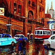 Lovers In The Rain Stroll St Catherine Street Near Morgans Department Store Vintage City Scene Art Art Print