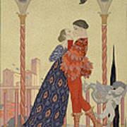 Lovers On A Balcony  Art Print