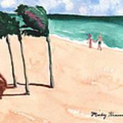 Lovers On The Beach Art Print
