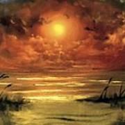 Lovers Sunset Art Print