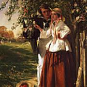Lovers Under A Blossom Tree Art Print