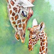 Loving Mother Giraffe2 Art Print
