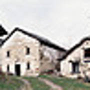 Low Angle View Of Houses In A Village Art Print