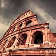 Low Angle View Of The Roman Colosseum Art Print by Stefano Senise