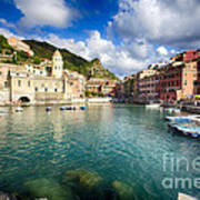 Low Angle View Of Vernazza  Harbor Art Print by George Oze