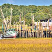 Low Tide - Shrimp Boat Art Print