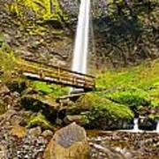 Lower Angle Of Elowah Falls In The Columbia River Gorge Of Oregon Art Print