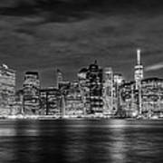 Night Skyline Of Lower Manhattan From Brooklyn Art Print