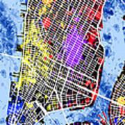Lower Manhattan Map Art Print