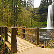 Lower South Waterfall With Footbridge In Oregon Columbia River Gorge. Art Print